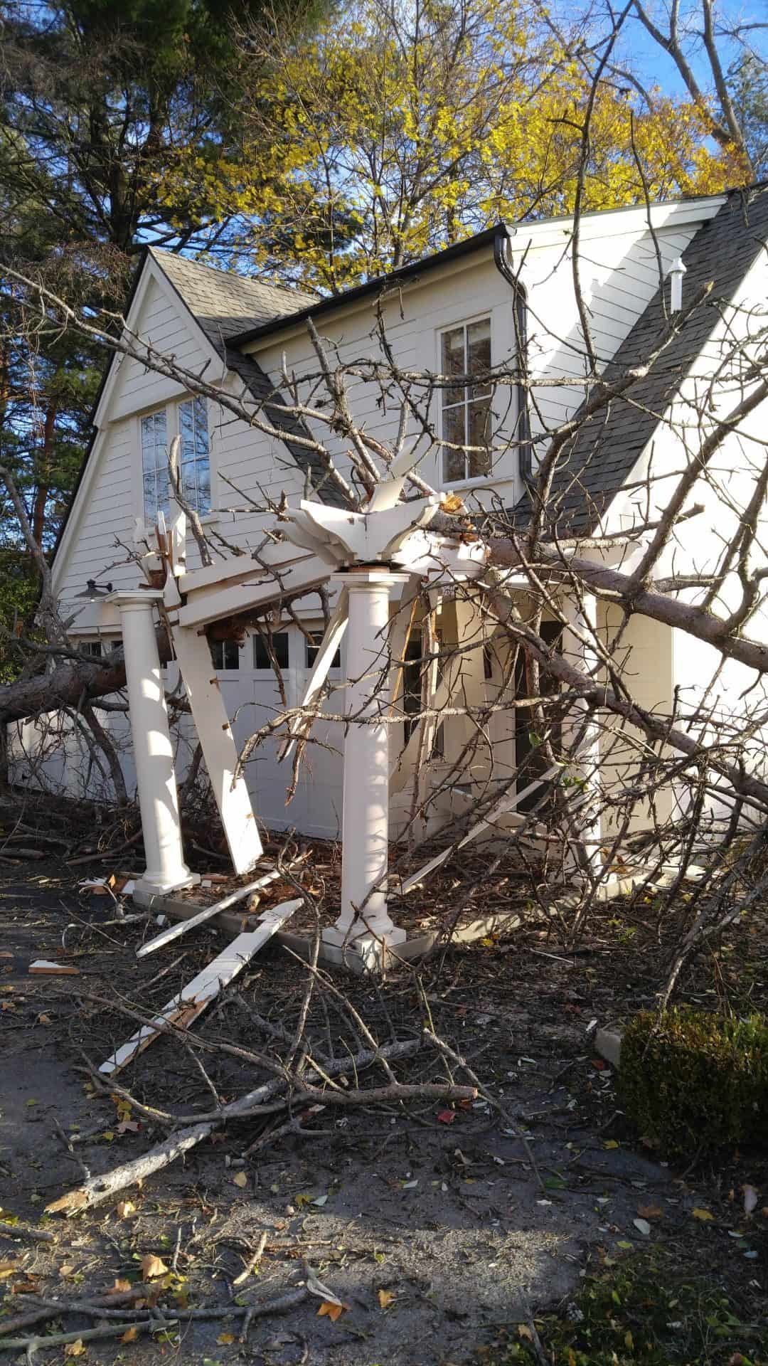 Tree Service of Troy Michigan house damaged from tree falling during storm